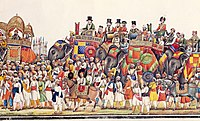 Panorama of a durbar procession of Mughal Emperor Akbar II, 1806–37. The Emperor is followed by the British Resident.