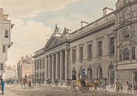 The expanded East India House, London, painted by Thomas Malton in c.1800