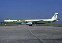 An Air Afrique Douglas DC-8-63CF at Charles de Gaulle Airport in 1980.