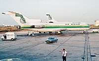A Boeing B727-200, leased from JAT, at Dakar-Yoff Airport in 1984