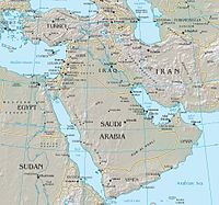 Map of the Middle East between Africa, Europe, Central Asia, and South Asia.
