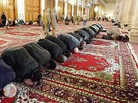 Islam is the largest religion in the Middle East. Here, Muslim men are prostrating during prayer in a mosque.
