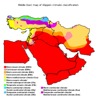 Middle East map of Köppen climate classification.