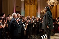 Wonder receiving a standing ovation in the East Room of the White House in 2011