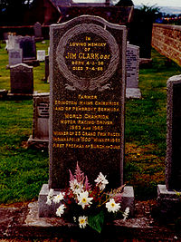 Jim Clark's grave in Chirnside, listing him as farmer before racing driver as he had wished.