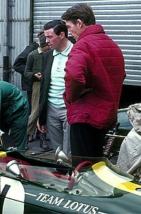 Clark outside the Lotus garage at the Nürburgring in 1966
