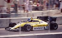 Derek Warwick qualified third for Renault at the 1984 Dallas Grand Prix, but spun off after 10 laps.