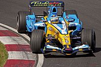 Fernando Alonso on his way to victory at the 2006 Canadian Grand Prix.
