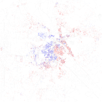 Map of racial distribution in Shreveport, 2010 U.S. Census. Each dot is 25 people: White, Black, Asian , Hispanic or other (yellow)