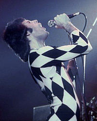 "Mercury performing in a Harlequin outfit. He appeared in a half black, half white version in the music video for ""We Are the Champions""."