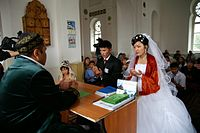 A Kazakh wedding ceremony in a mosque