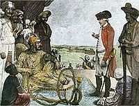 Mughal Emperor Shah Alam II negotiates with the East India Company after being defeated during the Battle of Buxar.