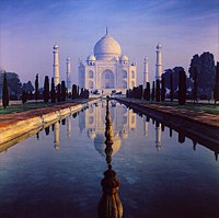 The Taj Mahal situated in Agra city of India is one of the most notable example of Islamic architecture. It was constructed during the reign of the Mughal Emperor Shah Jahan.