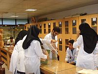 Medical students of anatomy, before an exam in moulage, Iran