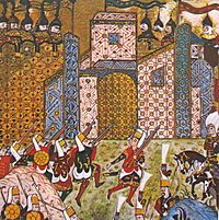 Gun-wielding Ottoman Janissaries in combat against the Knights of Saint John at the Siege of Rhodes in 1522.