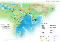 upright=1.8|Names, routes and locations of the Periplus of the Erythraean Sea
