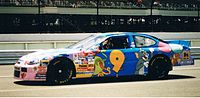 Lake Speed in the Cartoon Network No. 9 Ford, about to qualify for the Pocono Raceway Winston Cup Race, June 1998.