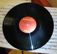 An example of an RCA Compatible Discrete 4 or Quadradisc album; RCA used this label on Quadradisc LPs from 1972 to 1976