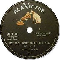 Label of an RCA Victor 78 rpm record from the mid to late 1950s. This basic design was also used for most LPs and 45s from 1954 to 1964