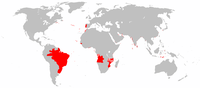 Areas of the world that were once part of the Portuguese Empire