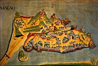 A depiction, from 1639, of the Macau Peninsula, during the golden age of colonization of Portuguese Macau