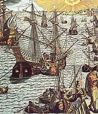 Portuguese carracks unload cargo in Lisbon. Original engraving by Theodor de Bry, 1593, coloured at a later date