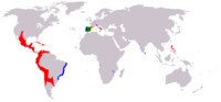 The Luso-Hispanic (or Iberian) Empire in 1598, during the reign of Philip I and II, King of Portugal and Spain