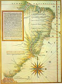 A map from 1574 showing the 15 hereditary captaincy colonies of Brazil