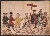 16th century Portuguese illustration from the Códice Casanatense, depicting a Portuguese nobleman with his retinue in India