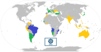 Map of the Community of Portuguese Language Countries; member states (blue), associate observers (green), and officially-interested countries & territories (gold)