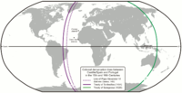 The 1494 Treaty of Tordesillas meridian divided the world between the crowns of Portugal and of Castile.