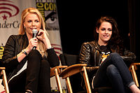 Theron and Stewart at Wondercon 2012 in Anaheim, California in March 2012