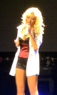 """Aguilera performing """"Beautiful"""" on her Back to Basics Tour"""