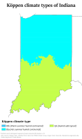 Indiana map of Köppen climate classification, now showing half the state as humid subtropical