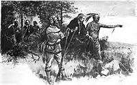 Native Americans guide French explorers through Indiana, as depicted by Maurice Thompson in Stories of Indiana.