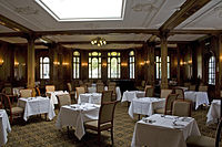The 1st-Class Lounge of the Olympic, which was almost identical to that of the Titanic, seen today as a dining room in the White Swan Hotel, Alnwick