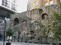 A surviving fragment of the London Wall, built around AD 200, close to Tower Hill