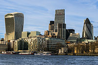 The City skyline in February 2016, including 20 Fenchurch Street (left), the Leadenhall Building (centre) and 30 St Mary Axe (right)