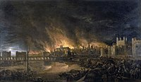 The 1666 Great Fire as depicted in a 17th-century painting: it depicts Old London Bridge, churches, houses, and the Tower of London as seen from a boat near Tower Wharf
