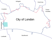 Modern borders of the City of London, showing surrounding London boroughs and the pre-1994 boundary (where changed) in red. The area covered by the Inner and Middle Temple is marked in green.