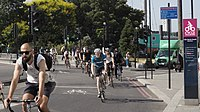 Cycleway 6 runs between Elephant & Castle and Kentish Town, passing through the City of London between Blackfriars and Farringdon.