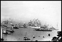 The Statue arrives in New York Harbor, onboard the French frigate Isère 1885