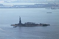 Liberty Island seen from the One World Trade Center Skypod