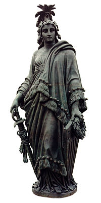 Thomas Crawford's Statue of Freedom (1854–1857) tops the dome of the U.S. Capitol building in Washington, D.C.