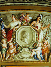 Detail from a 1855–56 fresco by Constantino Brumidi in the U.S. Capitol in Washington, D.C., showing two early symbols of America: Columbia (left) and the Indian princess