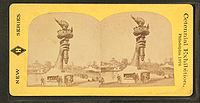 Stereoscopic image of right arm and torch of the Statue of Liberty, 1876 Centennial Exposition