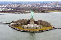 The Statue of Liberty stands on Liberty Island