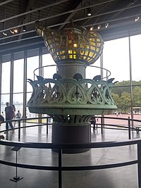 The Statue of Liberty's original torch displayed in the Statue of Liberty Museum
