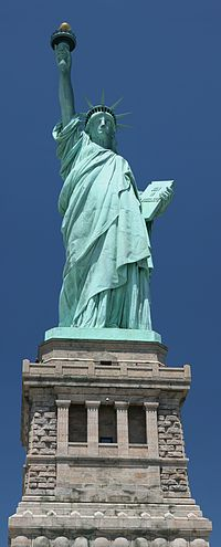 As viewed from the ground on Liberty Island