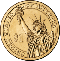 Reverse side of a Presidential Dollar coin